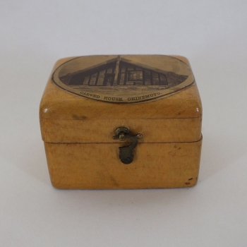 New Zealand Mauchlineware Box, Carved House Ohinemutu