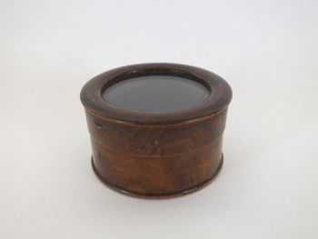 Antique Wooden Pot, Box With Glass Lid