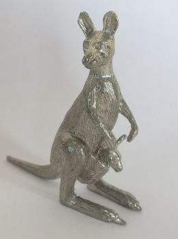 Kangaroo Mother & Joey Cast Metal Figure