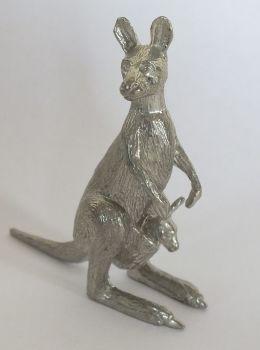 Kangaroo Mother & Joey Cast Metal Figure