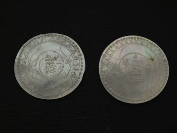 Antique Chinese Gaming Counters x2 Hand Carved Mother Of Pearl, Pagodas