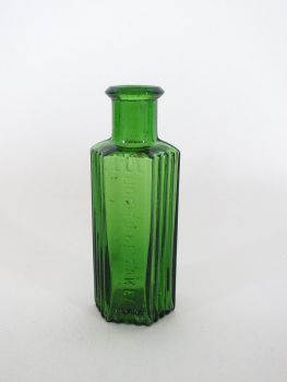 Antique Green Glass Apothecary Hexagonal Poison Bottle, 3.375""