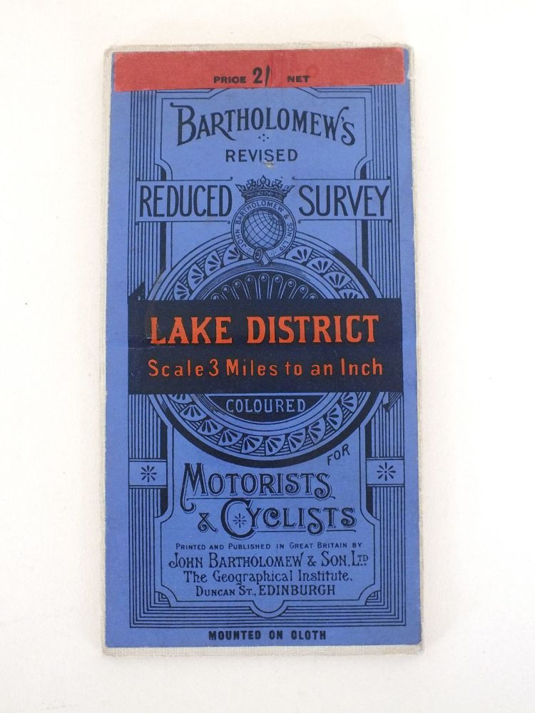 Lake District Map, Bartholomews Revised Reduced Survey, Early 20th Century