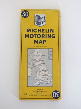 Michelin Motoring Map UK Sheet No 30. Pre 1970 Issue
