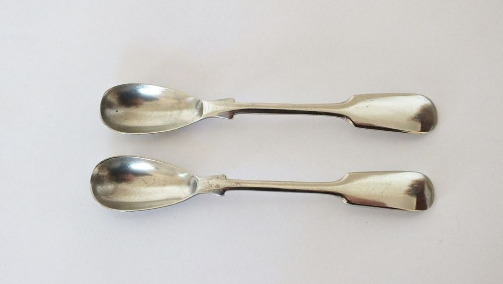 Fiddleback Condiment Spoons, Pair, Corona Silver Plate