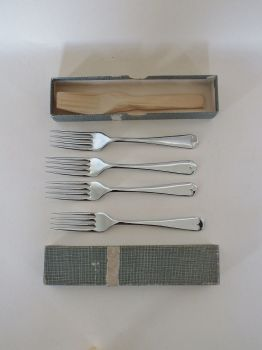 Chromium Plated Dessert Forks x5, Harrison Fisher