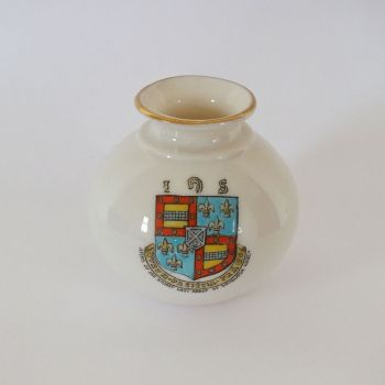 Goss Crested China Silchester Vase Arms Of Dryburgh Abbey