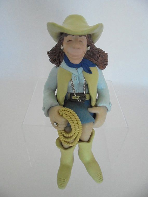 Vintage Diana Manning Cowgirl Shelf Sitter Figurine, Signed Limited Edition