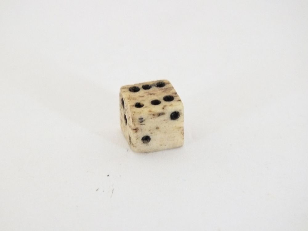 Miniature Carved Bone Gaming Die Dice, Tiny
