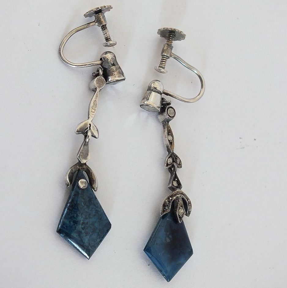 Blue Stone Screwback Drop Earrings, Mid 20th Century Retro