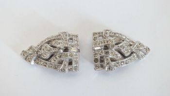 Vintage Rhinestone Dress Clips, Pair