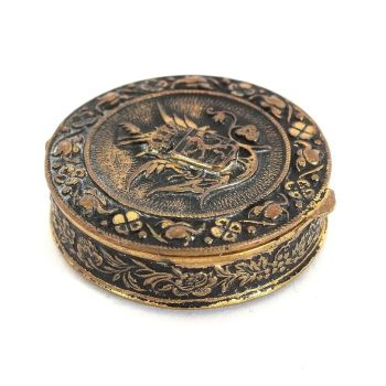 Ornate Gilt Metal Pill Box, Powder Pot, Patch Box