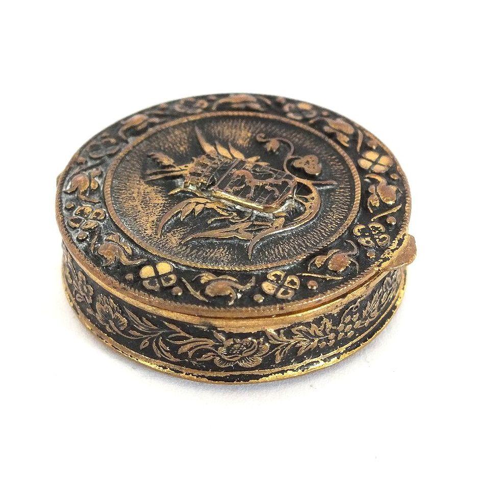 Vintage Pill Box, Powder Pot, Patch Box - Ornate Gilt Metal