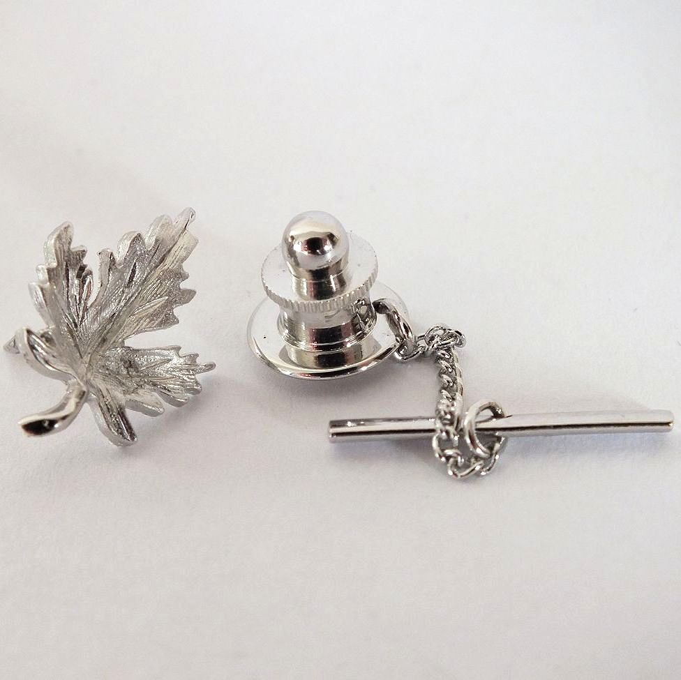 Canadian Maple Leaf Tie Tack Pin, Silvertone