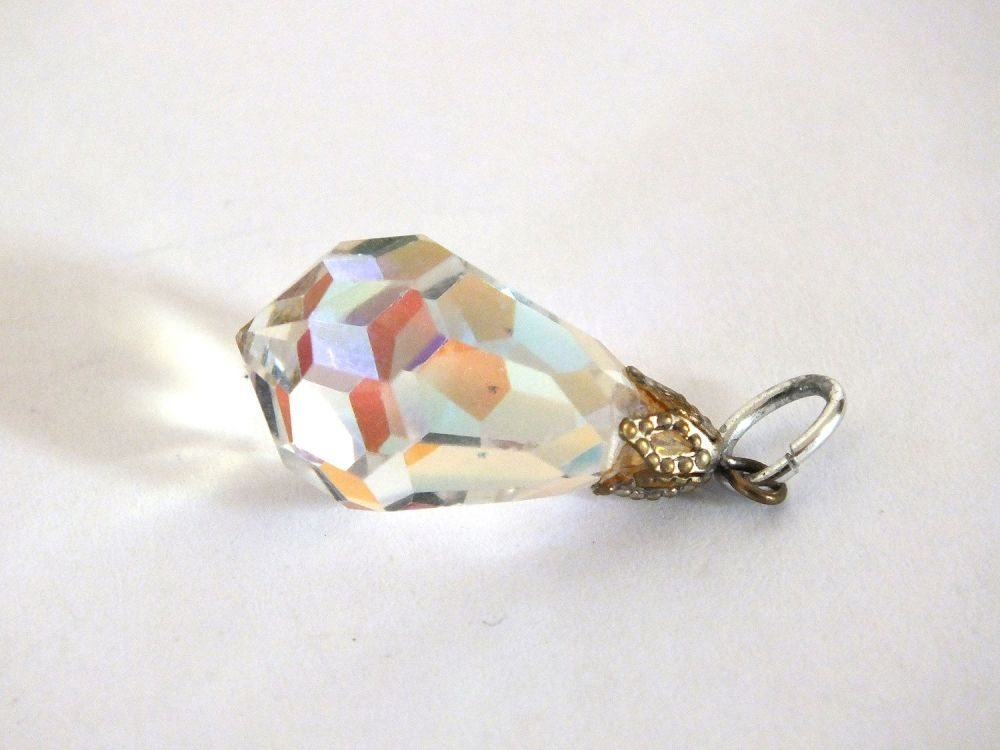Vintage Faceted Glass Drop Pendant, Aurora Borealis Effect