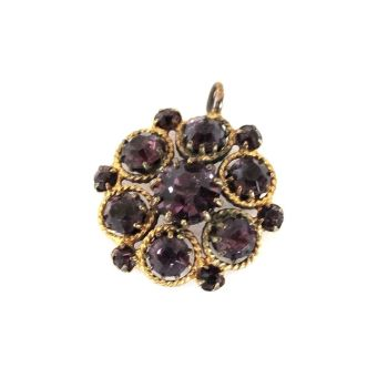 Antique Gilt & Faceted Amethyst Rhinestone Necklace Pendant, Early 1900s