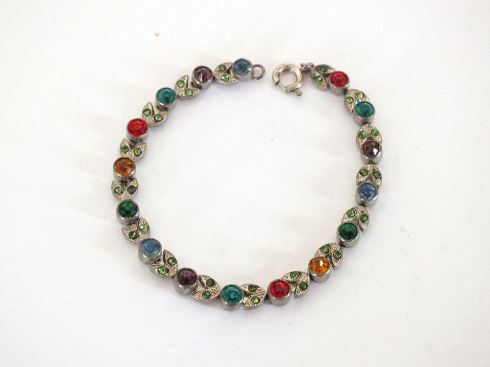 Vintage Rhinestone Bracelets, Pair, 6.75