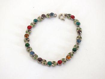 "Vintage Rhinestone Bracelets, Pair, 6.75"""