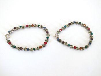 "Rhinestone Bracelets, Anklets x2, Multicoloured, Pair, 6.75"""