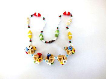 Rare Multicoloured Glass Necklace, Circa 1930s, 1940s, 1950s