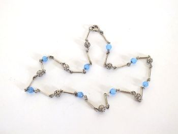 Vintage Silvertone Blue Glass Bead Necklace