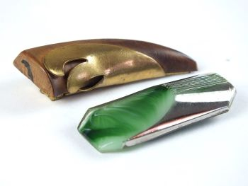 Dress Clips, Art Deco Design, Green and Silvered Glass, Wood and Brass