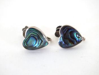 Vintage Sterling Silver Abalone Paua Shell Heart Earrings, Screw Fitting