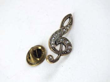 Treble Clef Pin Brooch, Rhinestones, Gold Tone