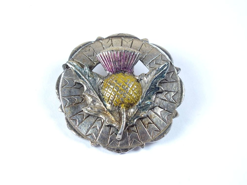 Scottish Thistle Plaid Pin Brooch