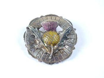 Scottish Thistle Plaid Pin Brooch