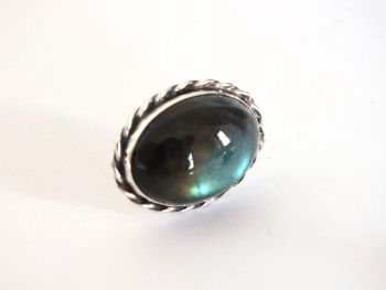 Green and Silvertone Cabochon Lapel Pin, Stock Pin, Oval Shape