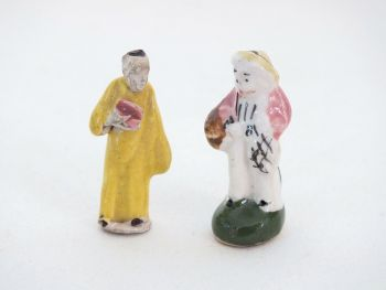 Antique Miniature Bisque Porcelain Figures x2
