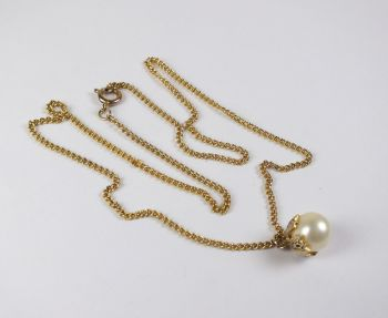 Damascene Pearl Pendant Necklace