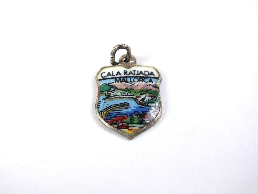 Silver, Enamel Travel Shield Bracelet Charm, Cala Ratjada, Mallorca, 1960s