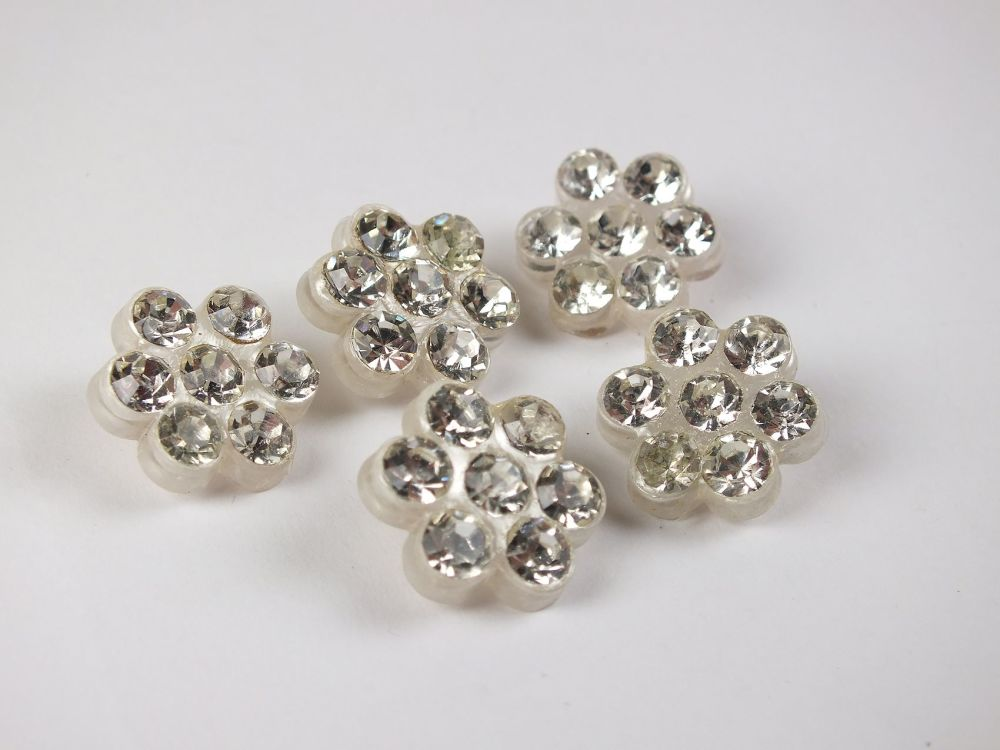 White Petal Diamante Rhinestone Paste Buttons, White Plastic Backed x5