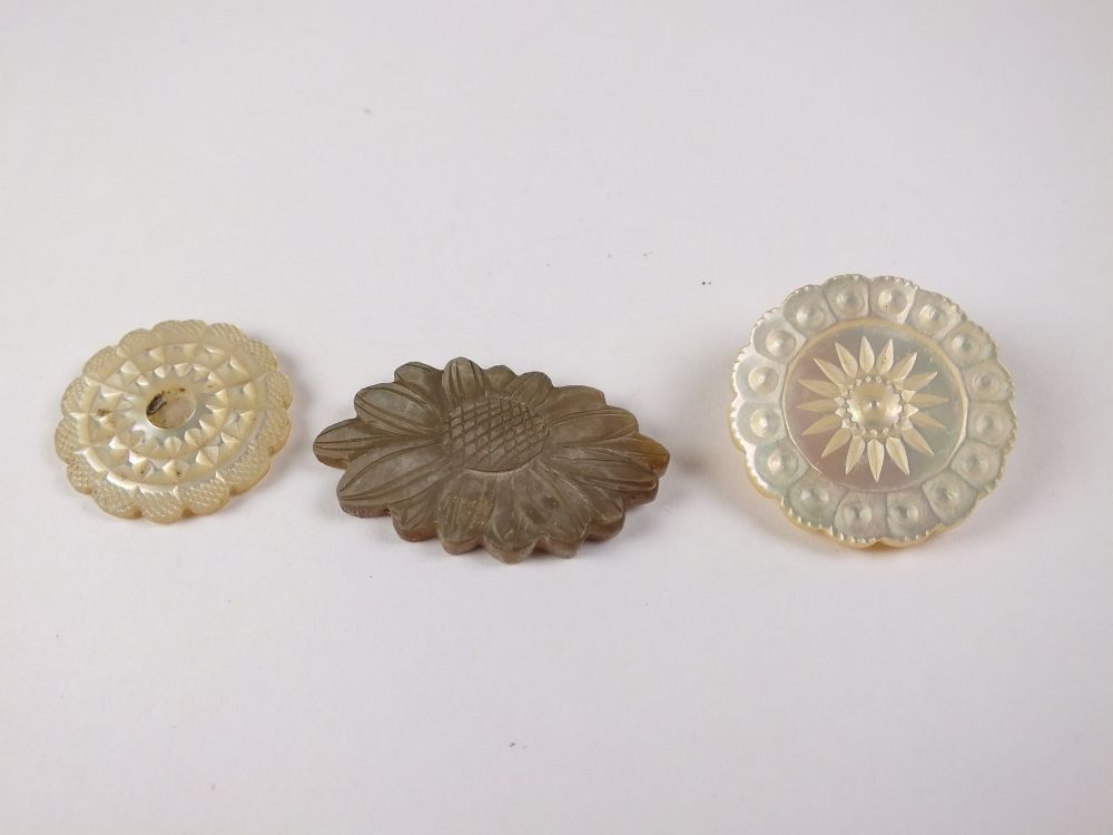 Carved Mother Of Pearl Insert Decorations x3, Antique