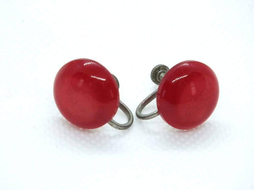 Vintage Earrings, Red Plastic Screw Backs, Circa 1950s
