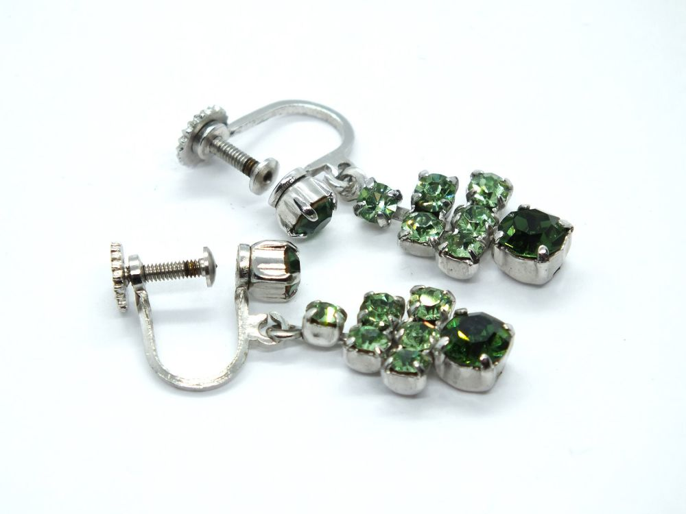 Vintage Earrings, Silvertone, Green Rhinestone Drops, Screw Backs