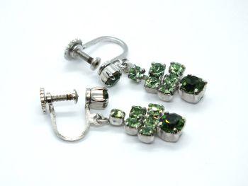Vintage Earrings, Silvertone, Green Rhinestone Drops, Screw Backs