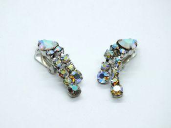 Earrings, Dangle Drops, Aurora Borealis, Clip On Backs