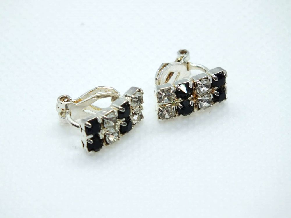 Earrings, Sapphire & White Rhinestone Clip On Backs