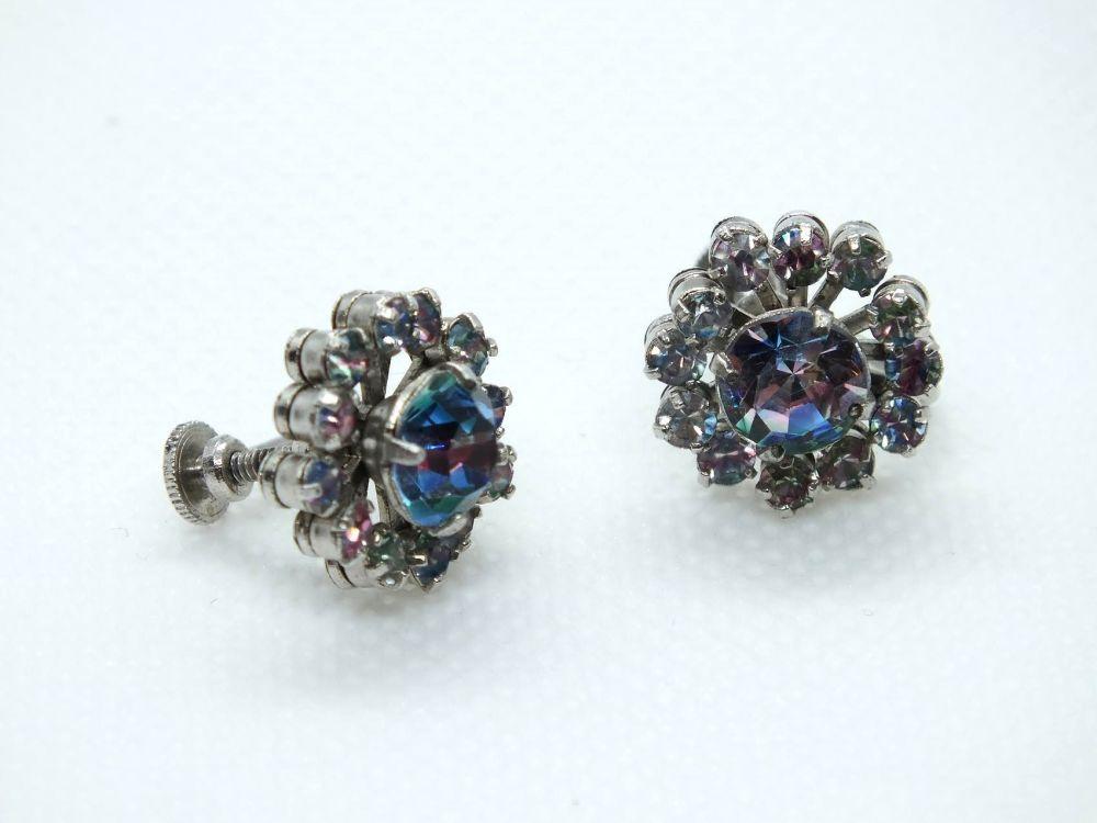 Vintage Ladies Rhinestone Stud Earrings, Screw Backs