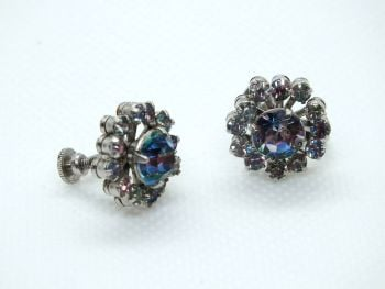 Vintage Ladies Rhinestone Stud Earrings, Screw Backs