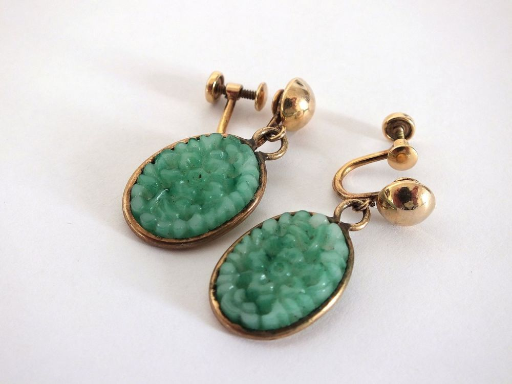 Vintage Amco Earrings, Jade Green Drops, Gold Filled Screw Backs