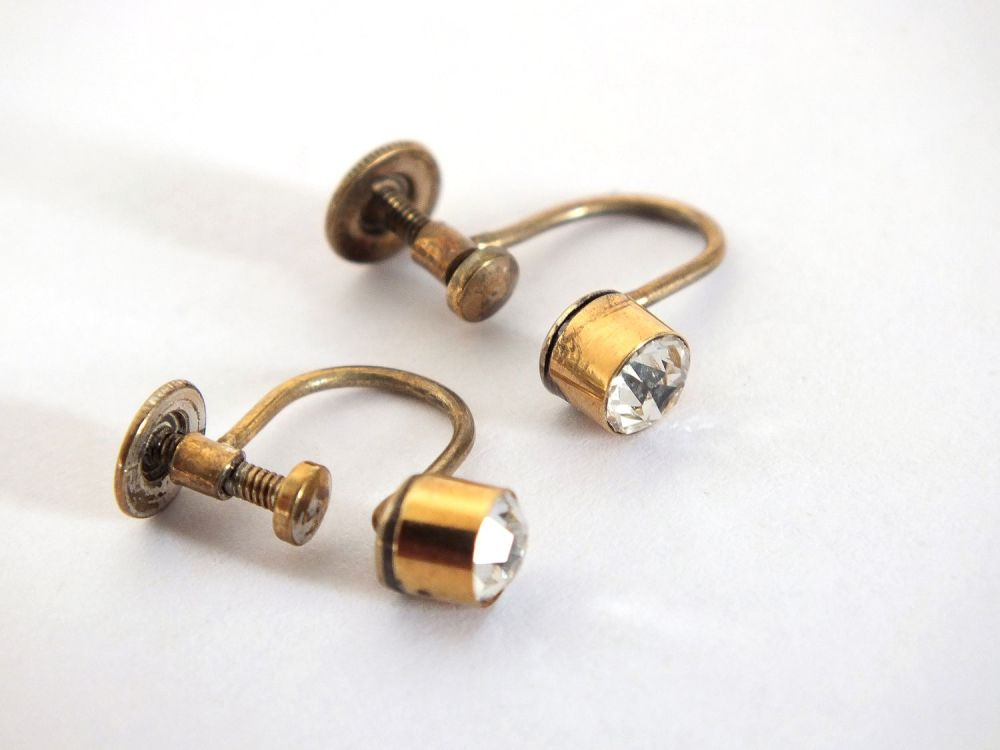 Vintage Earrings ,Silver Gilt Diamante Screw Backs, Circa 1950s