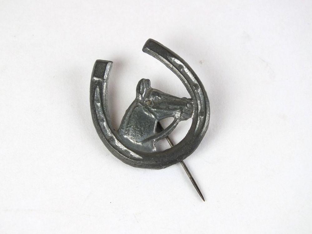 Horse, Horseshoe Lapel Pin, Pewtertone White Metal