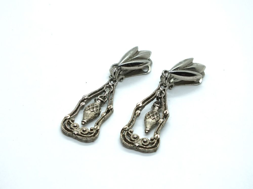 Dangle Drop Earrings, Silvertone Metal