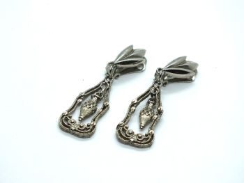 Silvertone Dangle Drop Earrings, Clip On Fittings