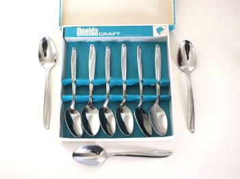 Oneida Craft Stainless Steel Teaspoons x6 Boxed + 3 Loose