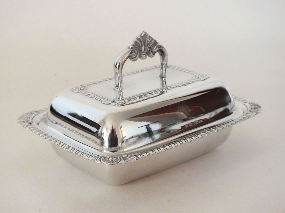 Silverplated Miniature Butter, Preserves Dish With Glass Line
